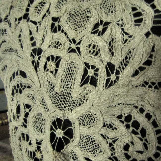 close up  2 vintage antique handmade lace cape