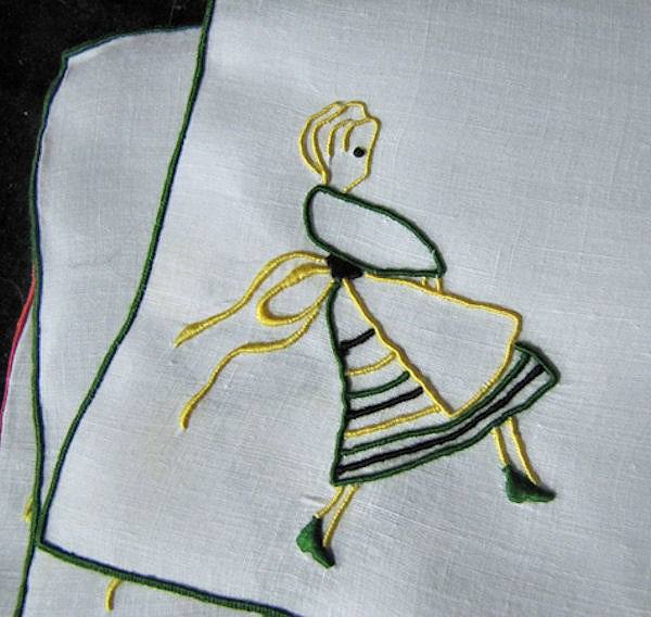 close up 2 vintage cocktail napkins barmaid by Marghab