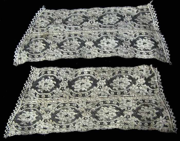 pair vintage antique lady's dress cuffs French lace