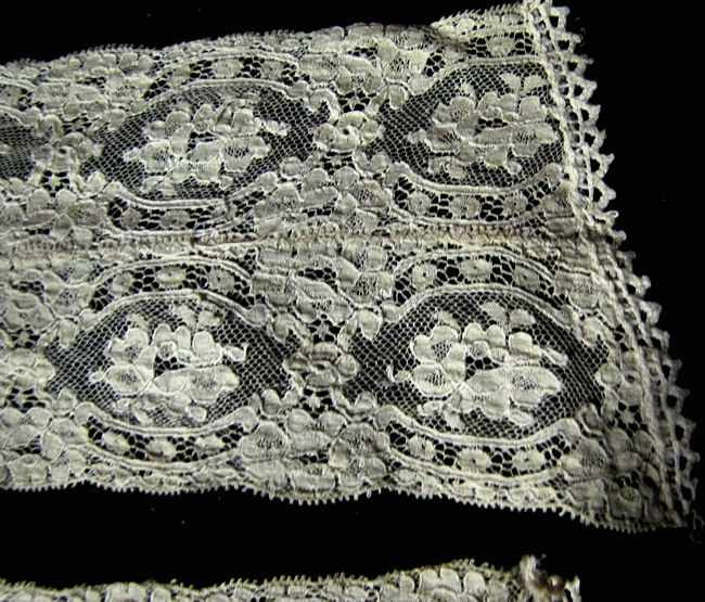 close up pair vintage antique lady's dress cuffs Alencon lace