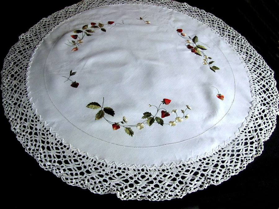vintage antique handmade linen table topper with lace and society silk strawberries