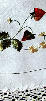 vintage antique handmade linen table topper society silk embroidered strawberries