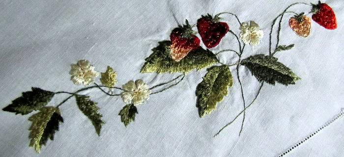 close up 3 vintage antique handmade linen table topper with lace and society silk strawberries