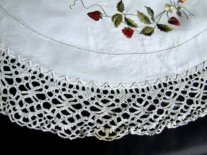 close up 4 vintage antique handmade linen table topper with lace and society silk strawberries