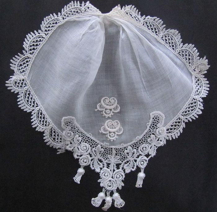 vintage antique ruffled linen and lace jabot