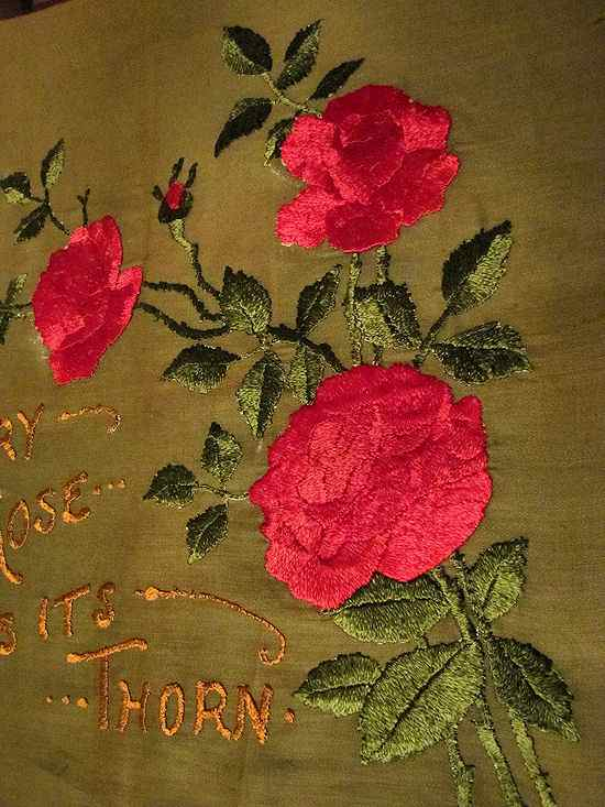vintage society silk pillow front roses