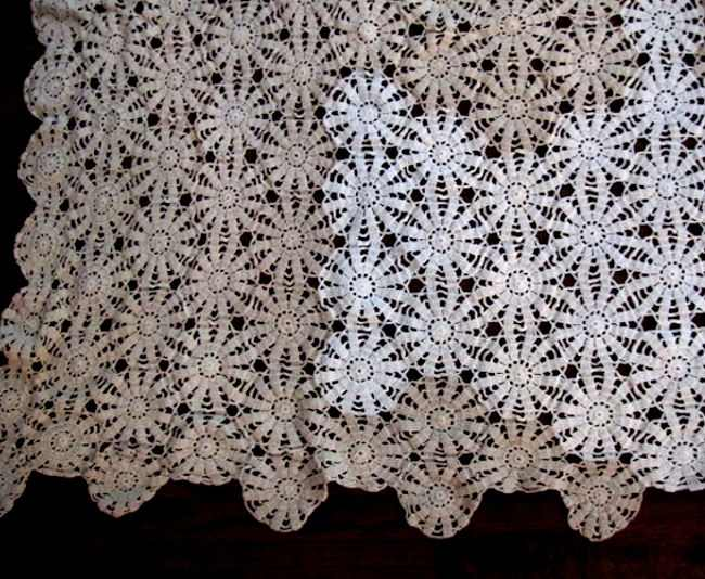 vintage handmade crochet lace tablecloth close-up 1