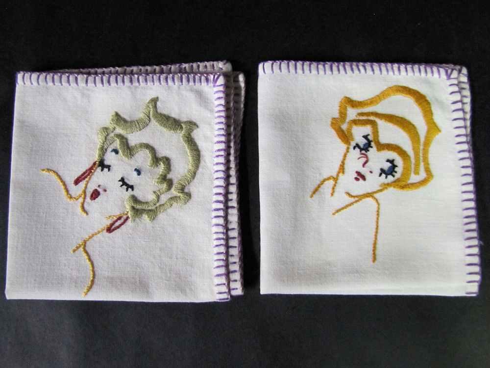 vintage antique napkins hand embroidered flappers