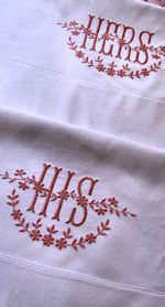pair vintage his and hers pillowcases
