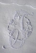 pair vintage Madeira monogrammed F towels