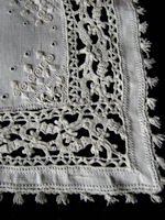 vintage linen doily Italian ropework