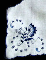 vintage delft embroidered linen roll basket cover