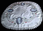 vintage antique table topper figural hand embroidery