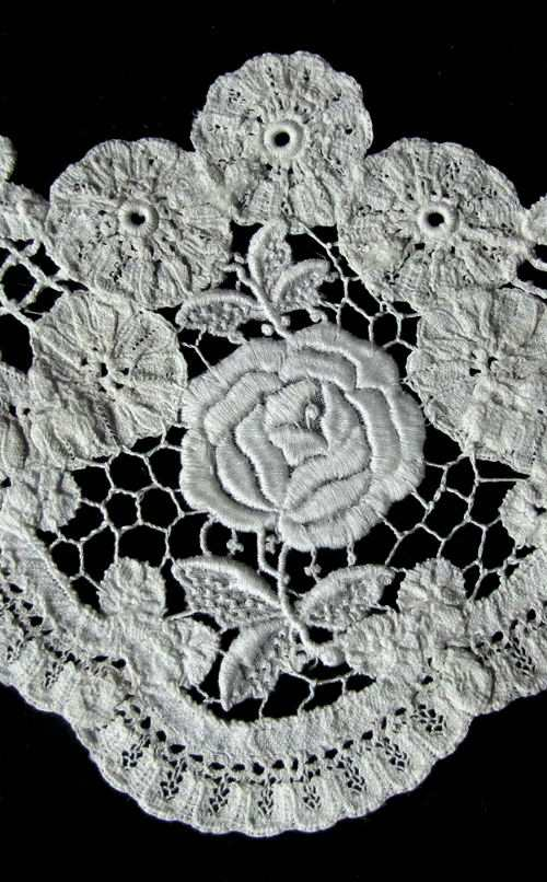 close up vintage collar dress insert or modesty panel Brussels lace