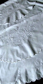 pair vintage envelope whitework pillowcases