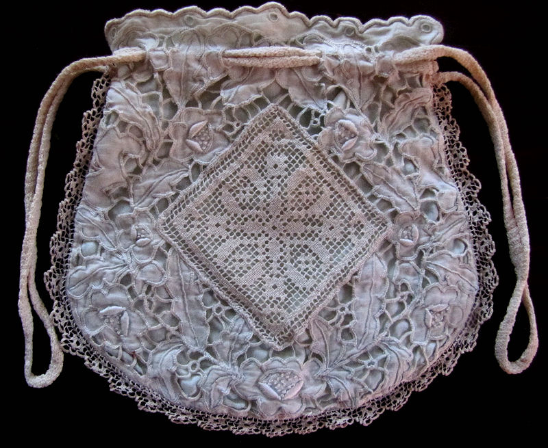 vintage handmade drawstring purse or bag handmade lace whitework