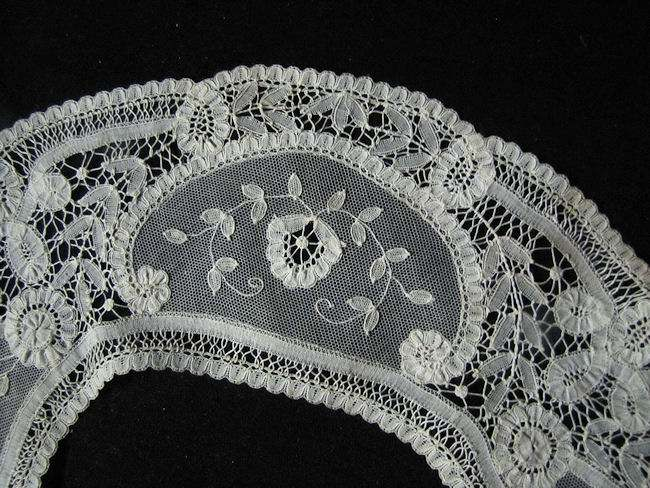 close up vintage victorian antique Brussels lace collar