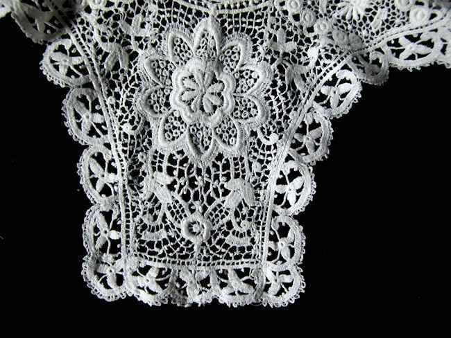 close up vintage antique victorian collar high-neck Schiffli lace