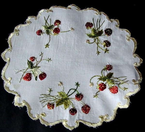 vintage antique linen doily, strawberries society silk embroidery