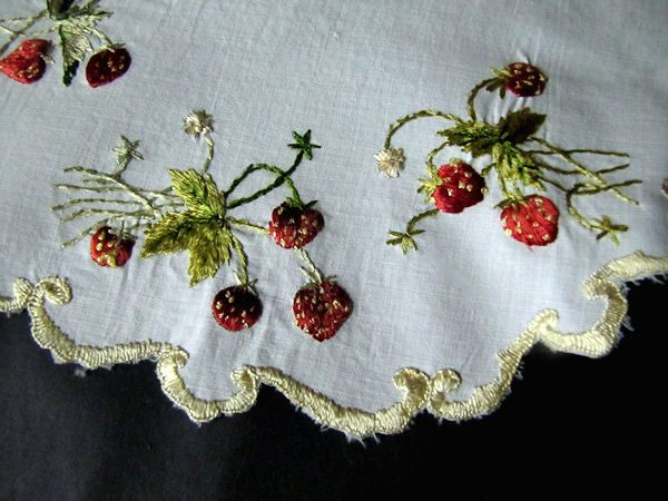 close up vintage antique linen doily, strawberries society silk embroidery
