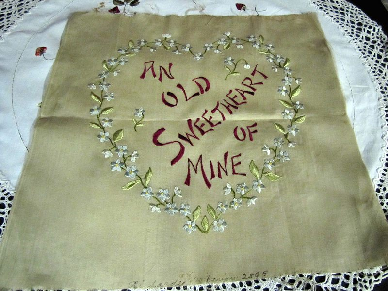 vintage antique pillow front Sweetheart Society Silk