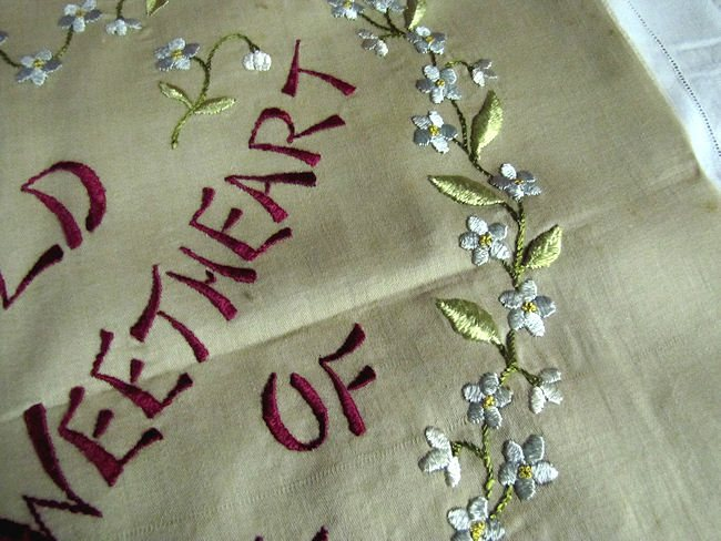 close up 2 vintage antique pillow front Sweetheart Society Silk