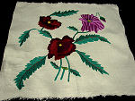 vintage hand embroidered throw or accent pillow front