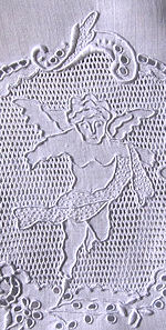 vintage antique boudoir pillow cover handmade figural appenzell lace