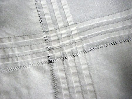 close up pintucks antique pillow shams