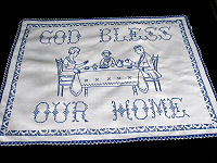 vintage antique bluework embroidered wall hanging