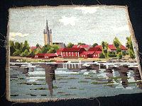 vintage antique needlepoint river scene