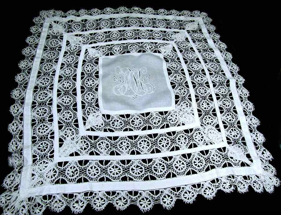 pair antique pillow shams handmade lace and embroidery large monogram