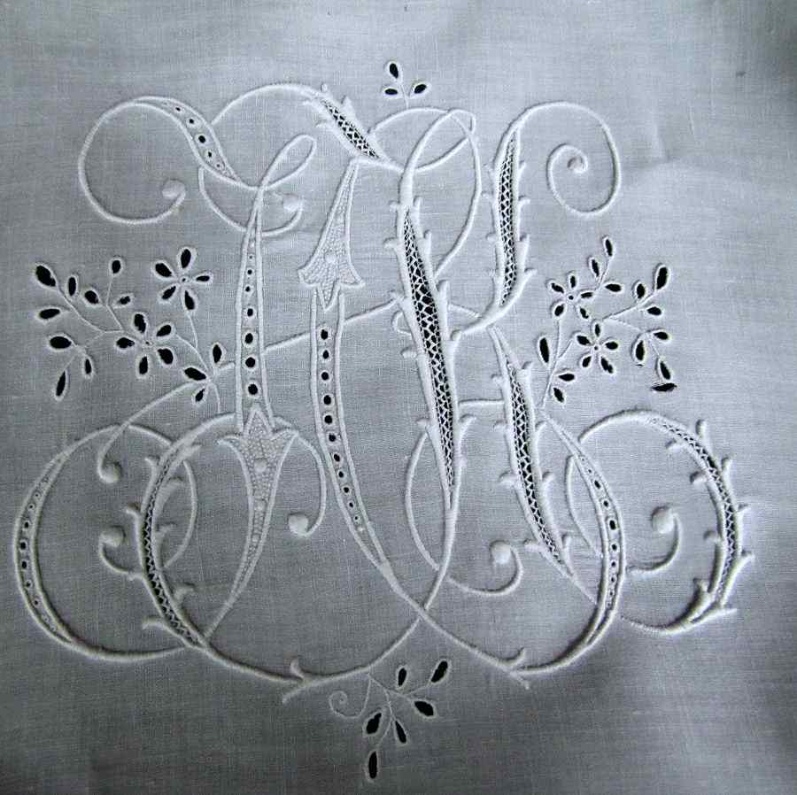 close up 2 pair antique pillow shams handmade lace and embroidery large monogram