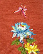 vintage antique needlepoint throw or accent flowers butterfly