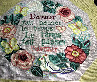 vintage antique throw or accent needlepoint pillow front love birds