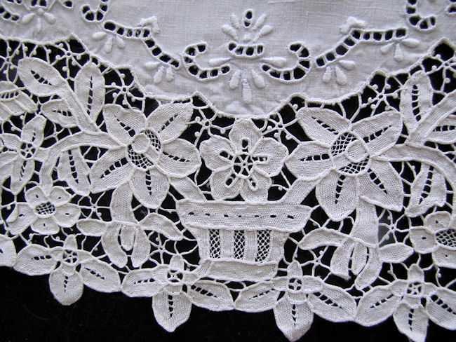 close up set vintage antique placemats handmade figural reticella needle lace