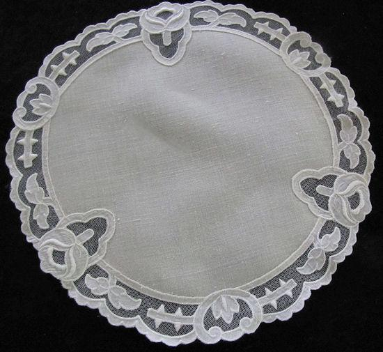 vintage Carrickmacross lace doily
