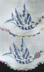 pair vintage antique handmade linen doilies with embroidered bluebirds and lace