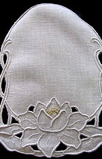 vintage antique linen doily handmade cutwork lace water lily