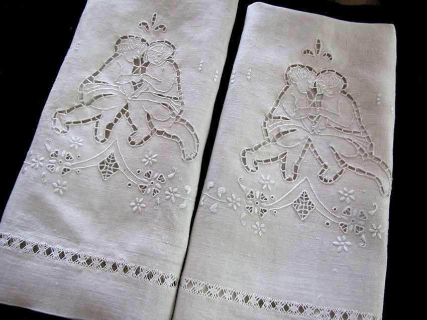 pair vintage antique linen pillowcases handmade figural lace and embroidery