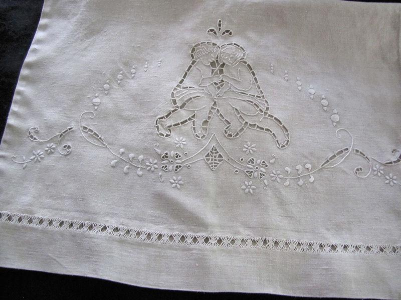 close up 2 pair vintage antique linen pillowcases handmade figural lace and embroidery