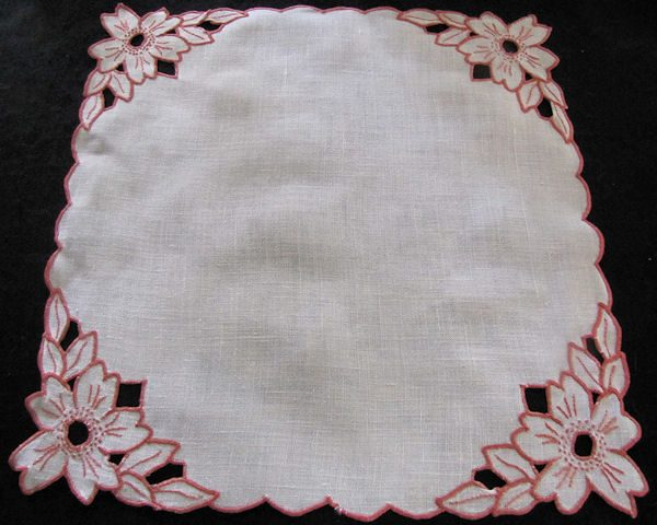 vintage antique linen doily with handmade cutwork lace and embroidery