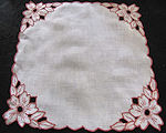 vintage antique linen doily handmade figural cutwork lace orange