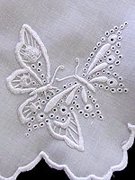 vintage antique white linen doily handmade figural lace whitework butterflies