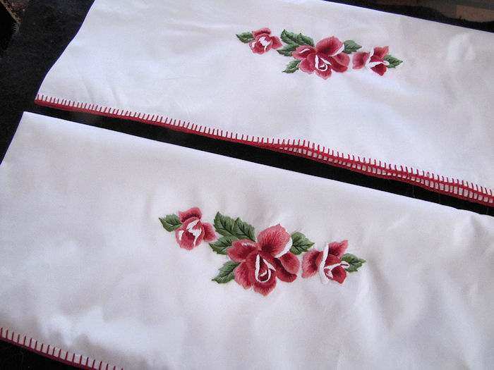 vintage antique Pair pillowcases hand embroidered red roses