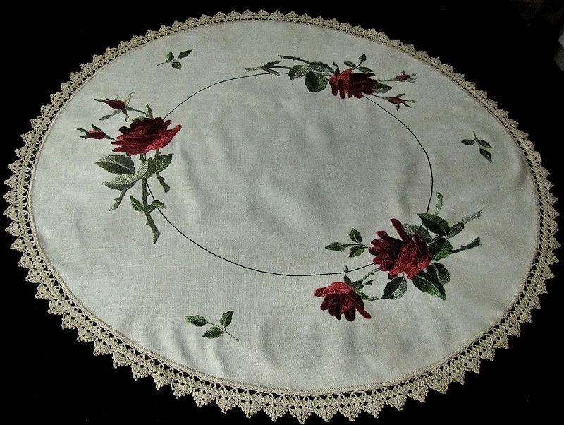 vintage antique linen table topper society silk embroidery