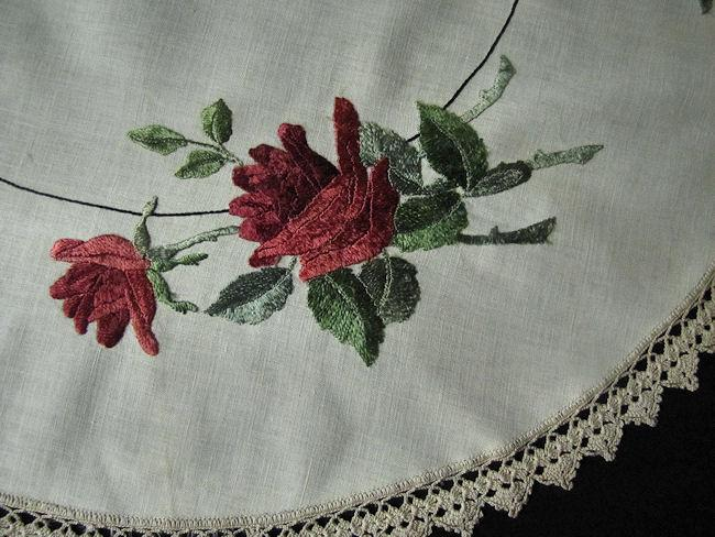 close up vintage antique linen table topper society silk embroidery