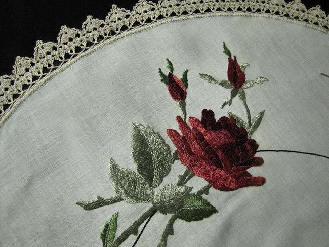 close up 2 vintage antique linen table topper society silk embroidery
