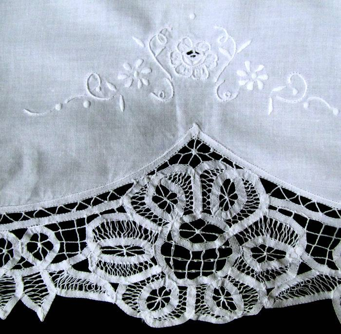 close up vintage antique double pillow sham handmade Battenberg lace and whitework