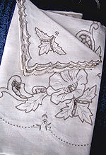 vintage antique handmade linen tablecloth handmade lace and embroidery